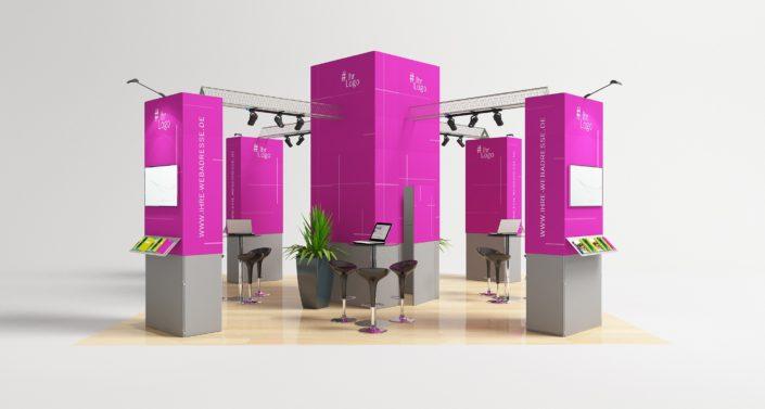 Beratungsplätze, Ton- und Lichttechnik, Streens, Multimedia, Grafikdesigne und Mobiliar. Das alles beiten wir Ihnen für den passenden Messestand. Gerne beraten wir Sie für Ihren Messeauftritt. Lösungen in individuellen Grössen inkluisve Boden, Multimedia und Elektronik