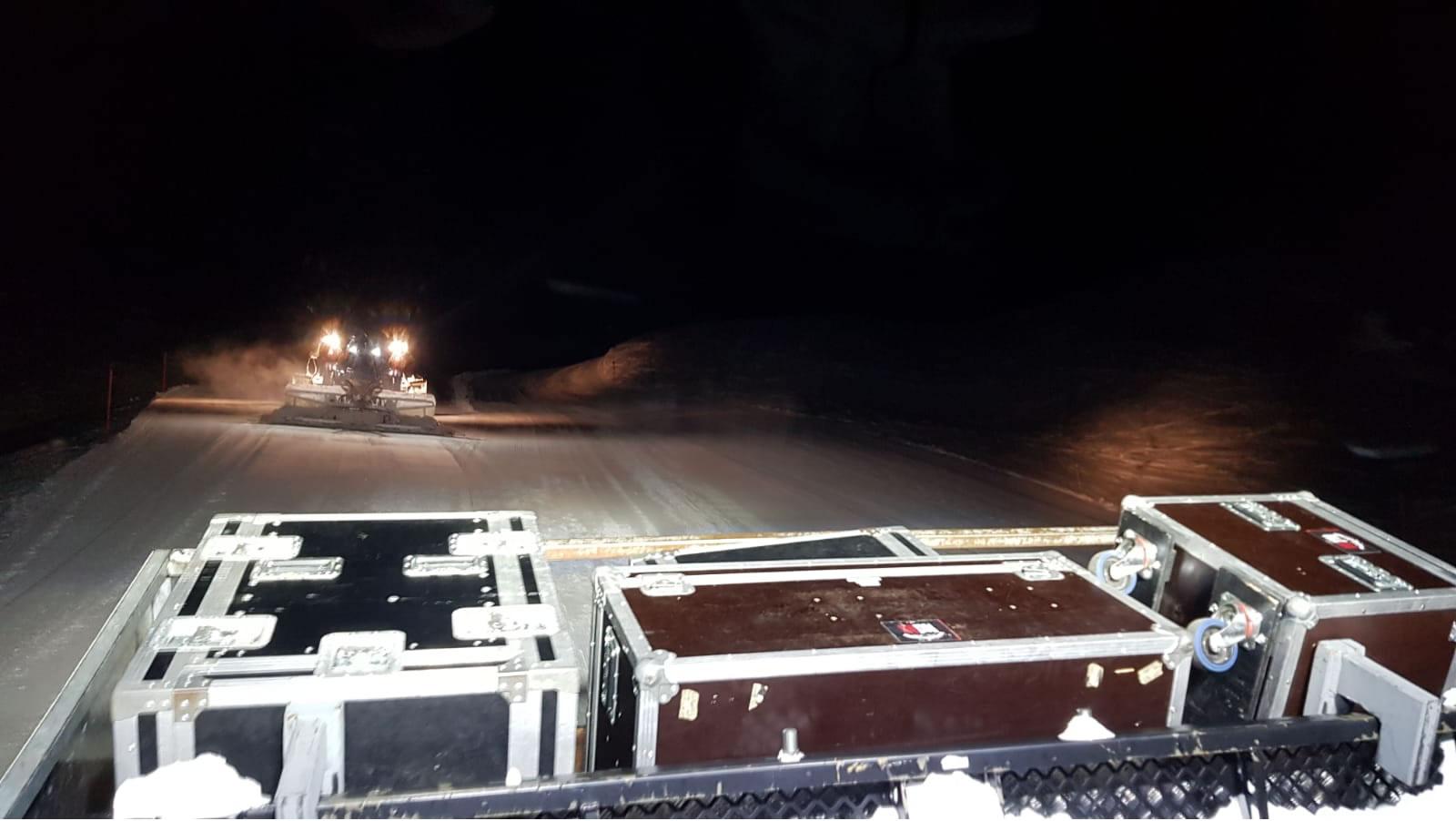 Unterwegs im Pisten Bully für Arosa Tourismus. USL Veransaltungstechnik im Schnee